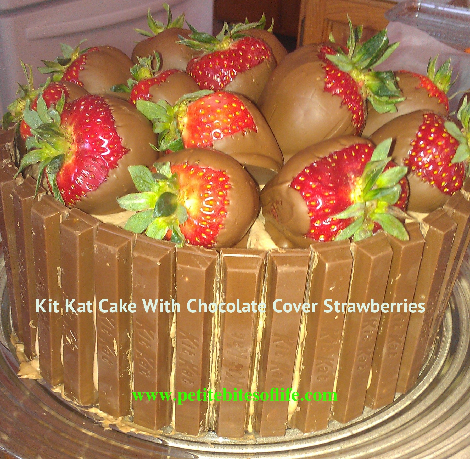 My Little Girl Turned 11 Years Old And She Wanted A Kit Kat Cake With Chocolate Covered Strawberries On Top